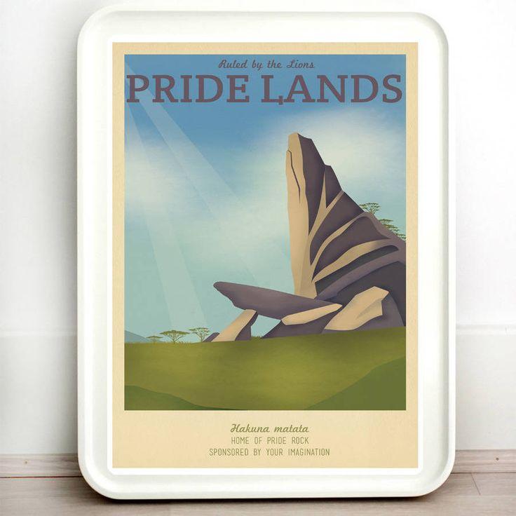 Disney Pride Lion King Retro Travel Print