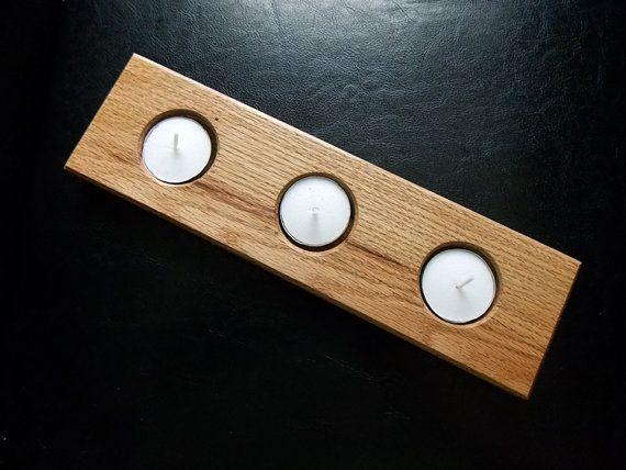 Wood Candle Holder - Husband Gift - Wood Tea Light Holder - Candle Centerpiece- Tea Light Candles - Tea Candle Holder - Tea Light Runner