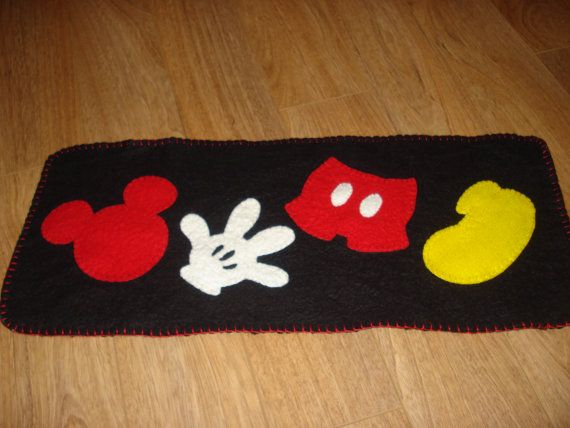 MIckey Mouse parts Runner 23 x 10 wool felt by 3LaughingPumpkins, $36.99