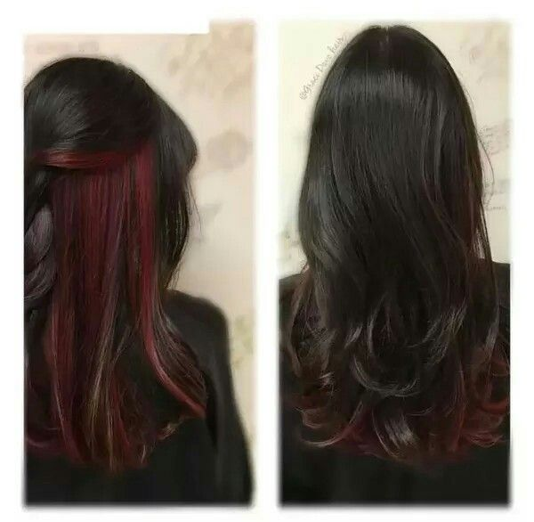 Black hair w/ red underlights @stischaa