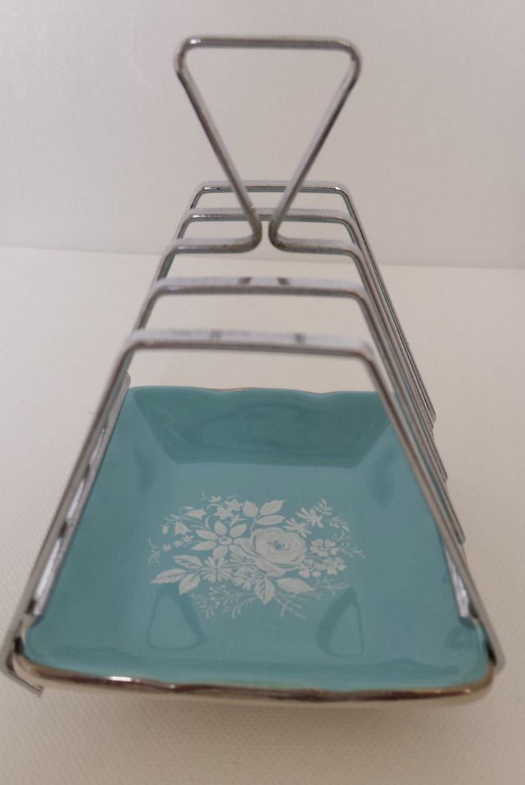vintage toast rack, Royal winton, grimwades toast rack, turquoise, baby blue, ceramic and metal vintage toast rack, rhapsody toast rack by VintageSonaBeam on Etsy