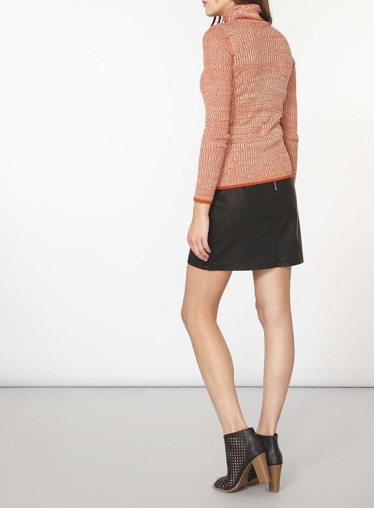 Womens Orange Space Dye Roll Neck jumper- Orange