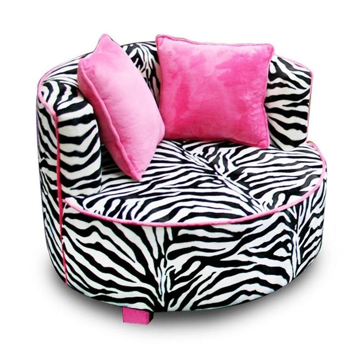 Black Pink Zebra Round Chair Air Room Dorm Kids Teen Bean