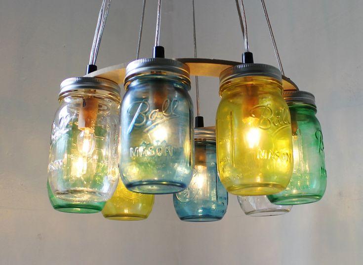 SEA GLASS Mason Jar Chandelier - Upcycled Hanging Mason Jar Lighting Fixture Direct Hardwire - BootsNGus Lamps Rustic Home Decor. $210.00, via Etsy.