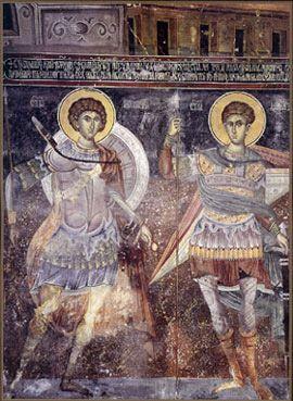 Freske Sveti ratnici( SV<Georgije i Sv. Dimitrije), druga polovina XIV veka