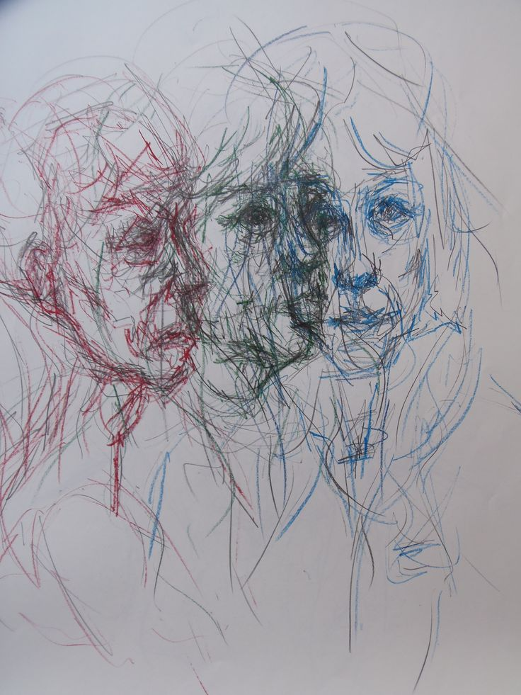 Serica Bawden - experimental layered portrait of my mother using a double line with pencil and biro's on A1 paper