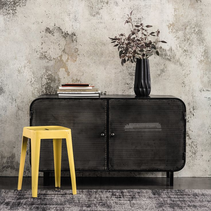 buffet en m tal noir l 116 cm porter maisons du monde. Black Bedroom Furniture Sets. Home Design Ideas