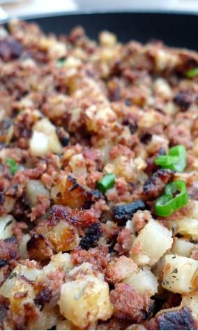 Corned Beef Hash ~ Use canned corned beef or left over from a cooked brisket. I often make a well and add an egg, put the lid on and finish cooking.