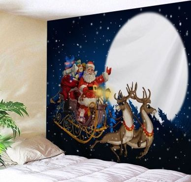 Christmas Moon Santa Sleigh Wall Tapestry. ECA Listing By Bile Shop, Macedonia