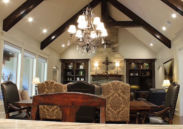 An Open Concept Living Space Featuring Vaulted Ceiling