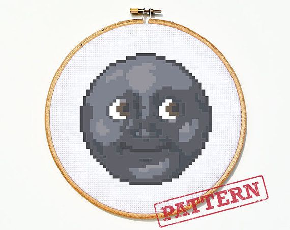 Emoji New Moon With Face Cross Stitch Pattern by TheStrandedStitch