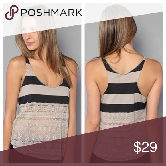 We the Free People Lacey Stripes Tank Striped tank top, lace detail, racerback, stretchy fabric, sleeveless. EUC. Free People Tops Tank Tops