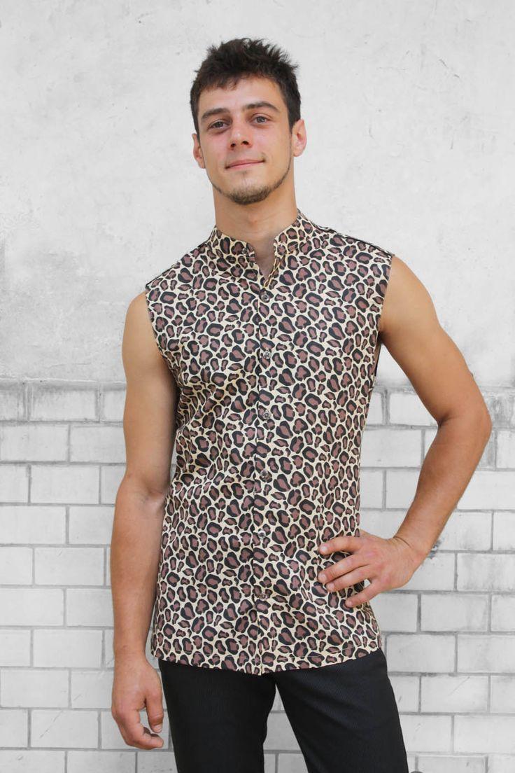 Baïsap - Chemise sans manche - Leopard - Chemise leopard homme - col mao