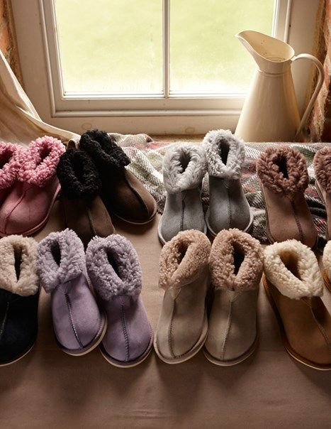 Sheepskin Slippers - Bootees, from Celtic & Co. Oh so soft, great on Christmas morning.