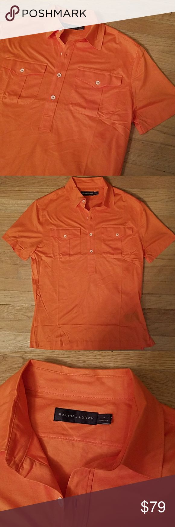 Ralph Lauren Black Label Slim Fit Orange Shirt new Ralph Lauren Black Label  Retail $300 Orange button up 2 chest pockets New with tags SLIM fit  100% Cotton silky feel Ralph Lauren Black Label Shirts