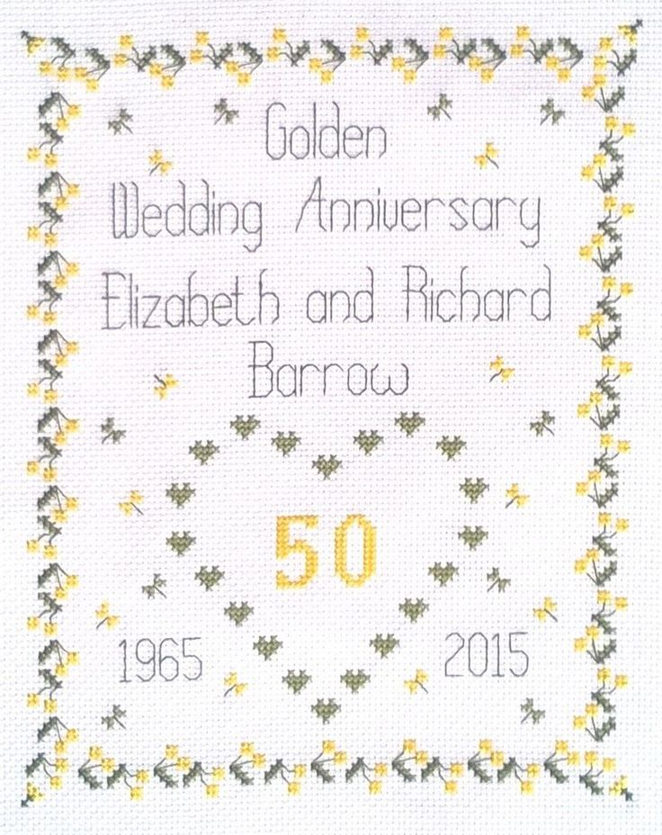 50th Golden Wedding Anniversary Sampler Cross Stitch Kit ღ*❤*ღ No. WS 14