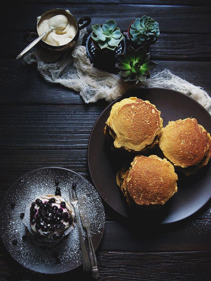 Apple and Carrot Pancakes with Lemon Vanilla Crème Fraîche