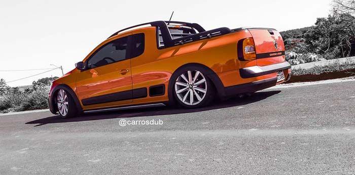 Carro: Saveiro Cross G6 Cor: Vermelha Marca da Roda: Volcano Wheels Modelo da Roda: Msty Marca do Pneu:  Perfil do