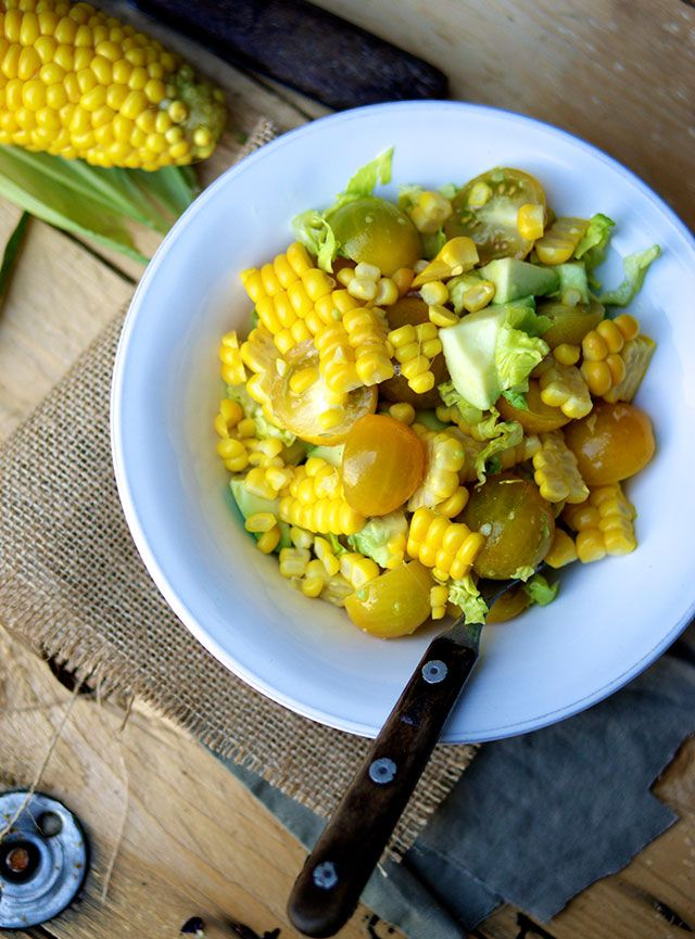 Salad with corn. In Danish