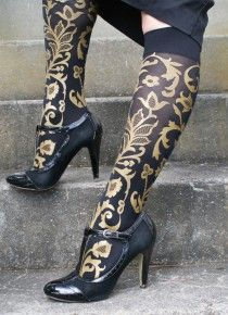 Polonova trouser socks - beautiful lace design hand-screenprinted in the USA. We stock these in a range of colours and styles!