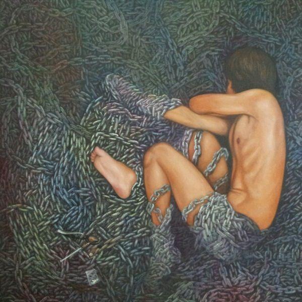 Colourfull Life II, acrylic on canvas, 140 x 140 cm, 2013, By Tedy Zulkarnaen