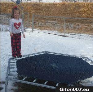 Frozen Trampoline, Fail, Gif, Video