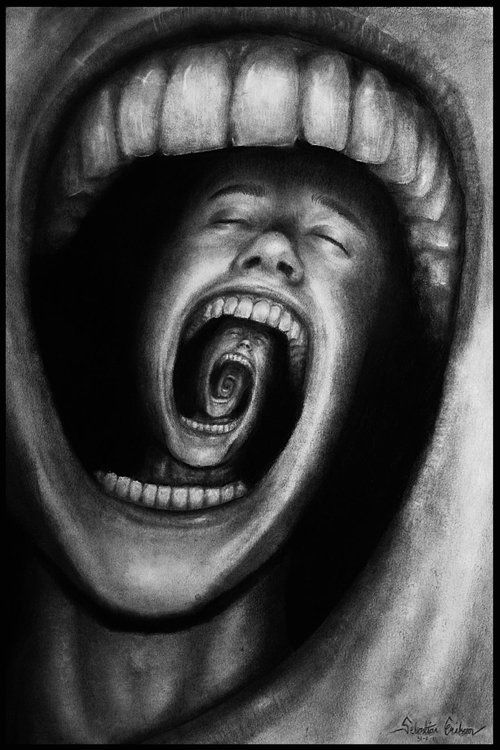 "cosmic-landscapes:      ""[This drawing] describes a person with psychological problems such as schizophrenia, insanity, depression or other mental problems. His endless screaming makes his own mind eat him up.""    Mind Devour by ~Sebmaestro"