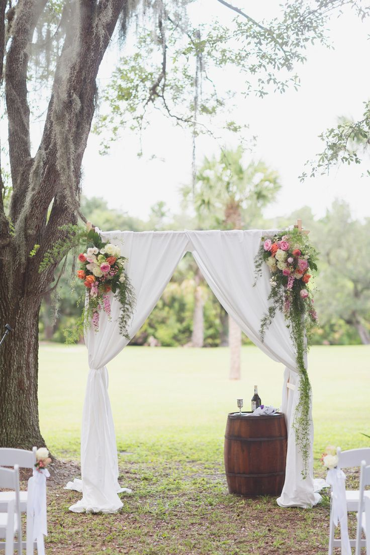 Draped ceremony huppah | Photography: Vitalic Photo - vitalicphoto.com  Read More: http://www.stylemepretty.com/2014/10/08/colorful-up-the-creek-farms-wedding/