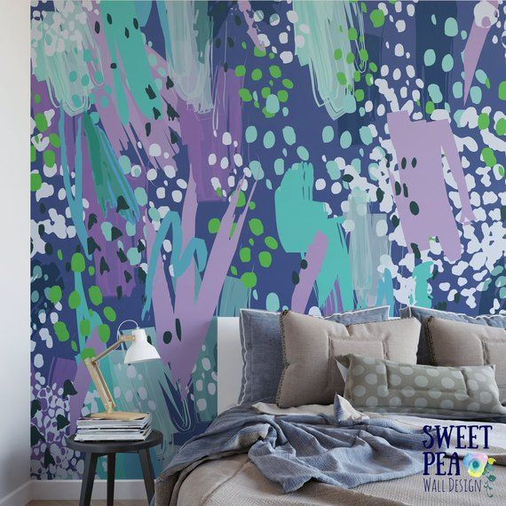 Blues Paint Wall Mural Abstract Removable Wallpaper Artistic Self Adhesive M1494