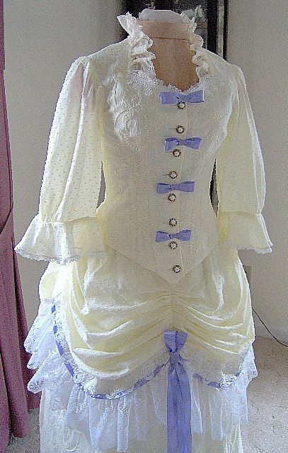 FOR ORDERS ONLY - Custom Made - 1800s Victorian Dress 1883 Summer Bustle Gown - 1880s Skirt Bodice - Lawn Picnic Tea