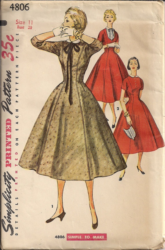 Vintage 50s UNCUT Dress Pattern Sewing DRESS with Detachable Collar and Bib by HoneymoonBus, $9.99