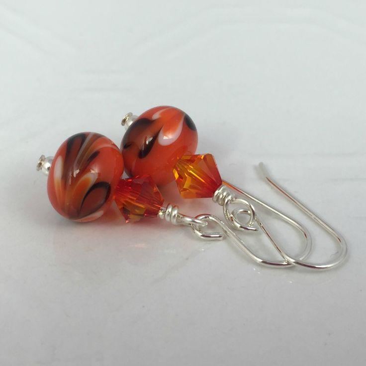 Lampwork Earrings - Black and White swirl on Orange   Felt