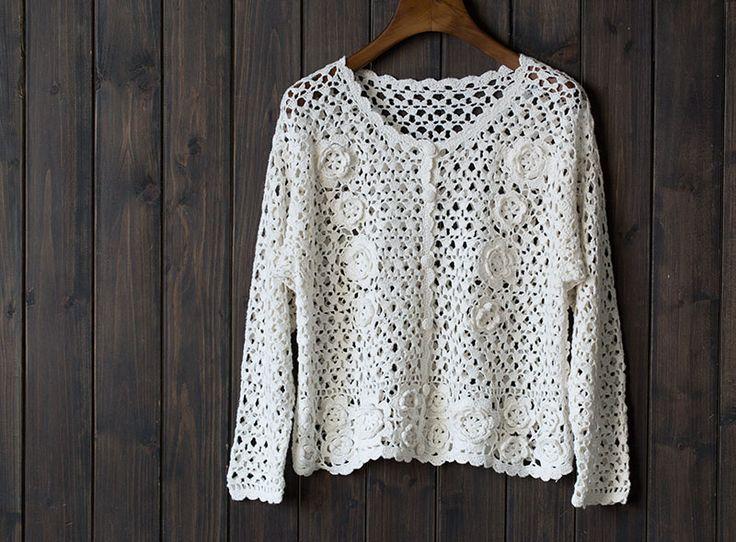 Handmade crochet Round neckline Long-sleeved Ladies Coat