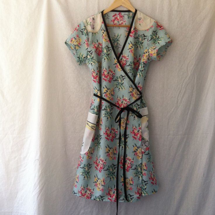 womens dress wrap around in vintage cotton with vintage embroidery size 18 by smallforestshop on Etsy