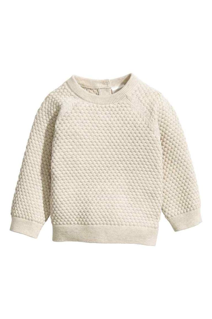 Textured-knit cotton jumper - Light beige | H&M £13