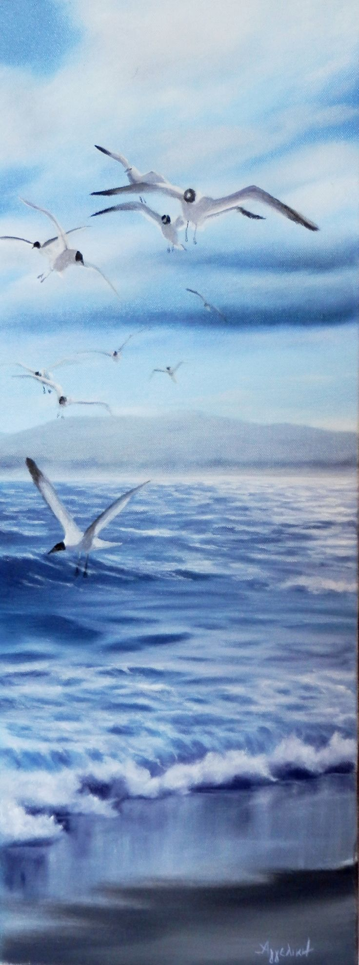 'Seaguls' by ΑγγελικΗ, 25X65cm, oil on canvas