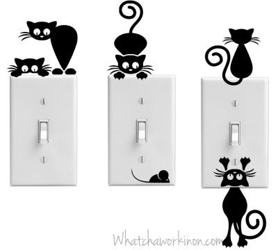 Free Silhouette cut file for adorable kitties. Cut from temporary vinyl and apply to wall and switch plate. Fun!