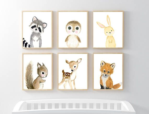 Woodland Print Set of 6, flower Nursery Art , Nursery Decor, Kids Wall Art, nursery art,squirrel, fox, deer, raccoo, animal painting