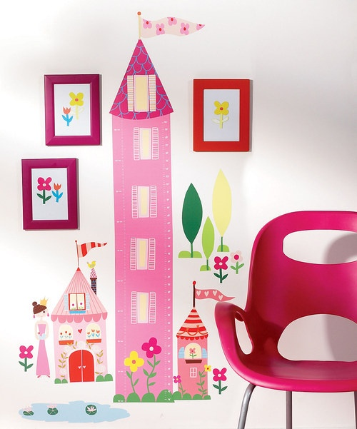 Record growth as little princesses become not so little with this fairy tale-inspired chart. This peel-and-stick wall decal set does double-duty, both decorating rooms and marking heights. The pieces are easily applied, repositioned and removed for a custom design that leaves no sticky residue behind. Includes large tower, small tower, seven tulips, 14 flowers, princess, tree, house and pond...