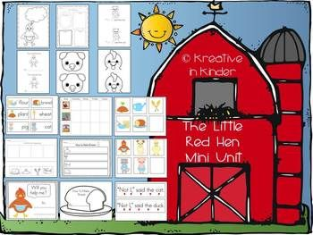 """""""The Little Red Hen"""" Mini Unit!  This is a 40-page unit that includes:  picture cards; sequencing; writing activities; character hats to act out story; mini reader; and more!  $"""