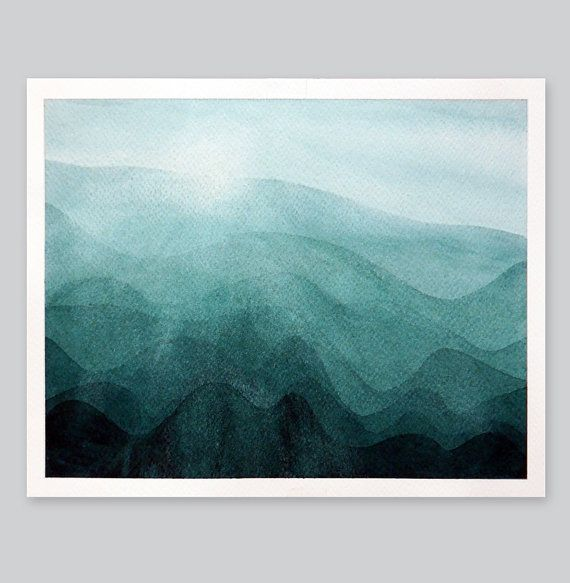 Mountains print watercolor painting landscape sunrise by by VApinx