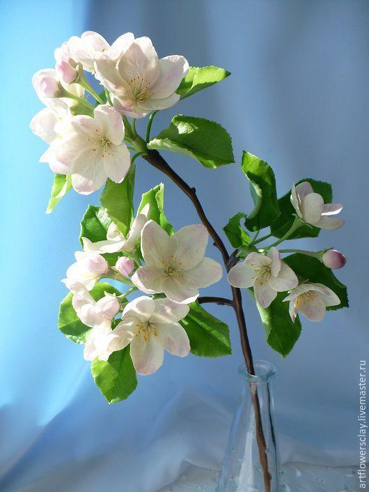 Купить Ветка яблони из полимерной глины - белый, яблоня в цвету, ветка яблони, цветы яблони