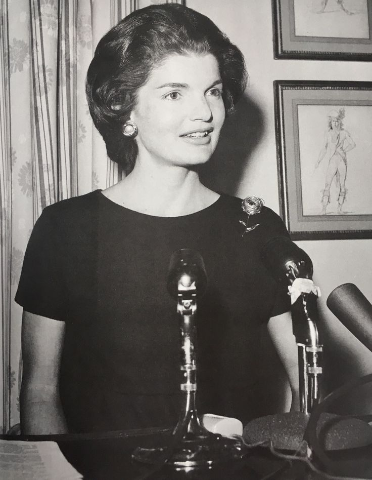Jackie Kennedy, wife of the Democratic Presidential nominee, speaks at a press conference held at her Georgetown home, 1960.