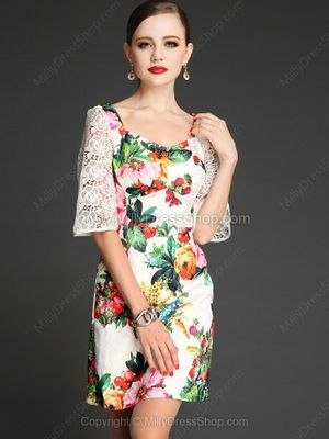 White Hollow Half Sleeve Backless Floral Bodycon Dress