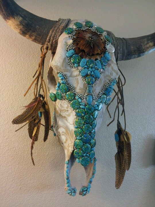 A Lace pattern buffalo skull made with turquoise and bb's brings femininity to the native american art. It was fun to make for a sweet friend!!!!!