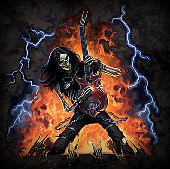 себе фото рок с гитарой скелет бываем бане