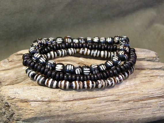 Mens Bracelet - Stretch Bracelet Set - Mens Jewelry - Bone Bracelets - Tribal Bracelet - African Bead Bracelet