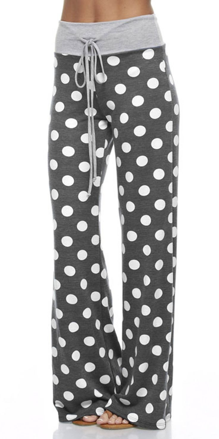 Why not be in style with these cute lounge polka dot pants while relaxing. These trendy polka dot pants are great for a chilly morning, watching t.v. or just a lazy morning in. Wear with your favorite