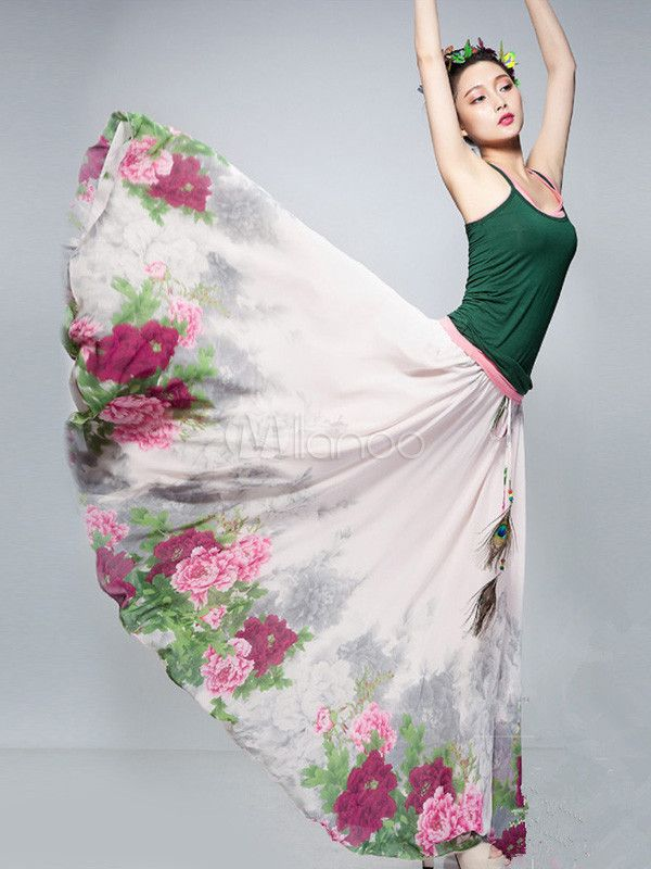 [$99.99] Chic Multi Color Floral Print Chiffon Women's Skirt