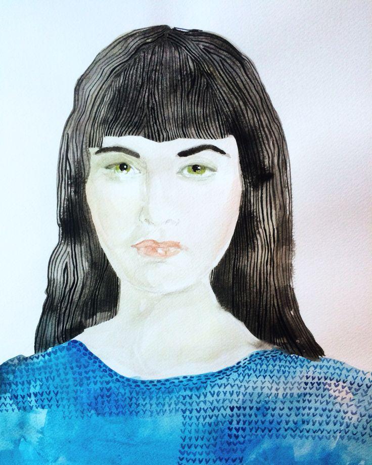 Black Hair Watercolour - Ingjerd Tufto  Instagram @intu